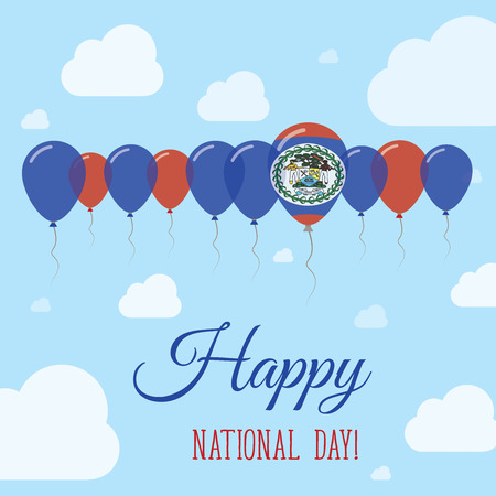 Belize National Day Flat Patriotic Poster. Row of Balloons in Colors of the Belizean flag. Happy National Day Card with Flags, Balloons, Clouds and Sky. Illustration
