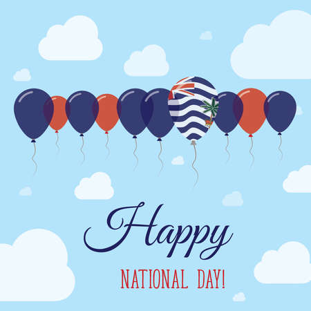 British Indian Ocean Territory National Day Flat Patriotic Poster. Row of Balloons in Colors of the Indian flag. Happy National Day Card with Flags, Balloons, Clouds and Sky.