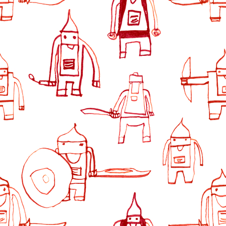Hero seamless pattern. Resplendent childs drawing with school pen. Cute hero hand drawn with red ink on white background. Boy hero seamless pattern for textile or wrapping paper.