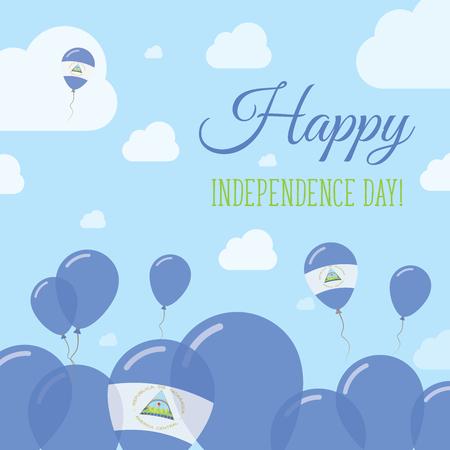 observance: Nicaragua Independence Day Flat Patriotic Design. Nicaraguan Flag Balloons. Happy National Day Vector Card. Illustration