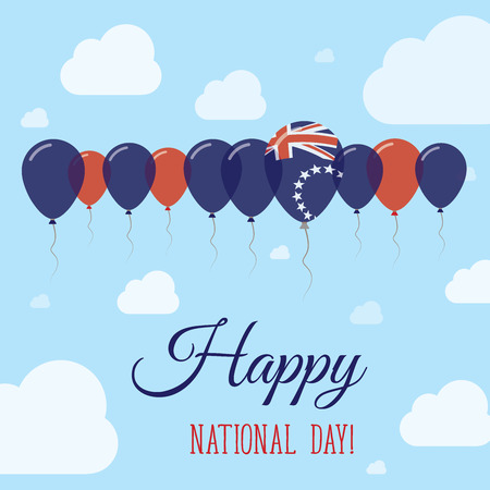 streamers: Cook Islands National Day Flat Patriotic Poster. Row of Balloons in Colors of the Cook Islander flag. Happy National Day Card with Flags, Balloons, Clouds and Sky.