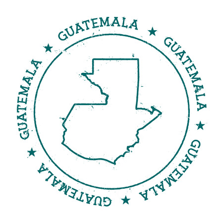Guatemala vector map. Retro vintage insignia with country map. Distressed visa stamp with Guatemala text wrapped around a circle and stars. USA state map vector illustration.