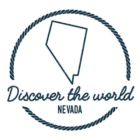 Nevada Map Outline. Vintage Discover the World Rubber Stamp with Nevada Map. Hipster Style Nautical Rubber Stamp, with Round Rope Border. USA State Map Vector Illustration. Illustration