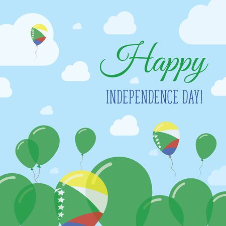 happening: Comoros Independence Day Flat Patriotic Design. Comoran Flag Balloons. Happy National Day Vector Card. Illustration