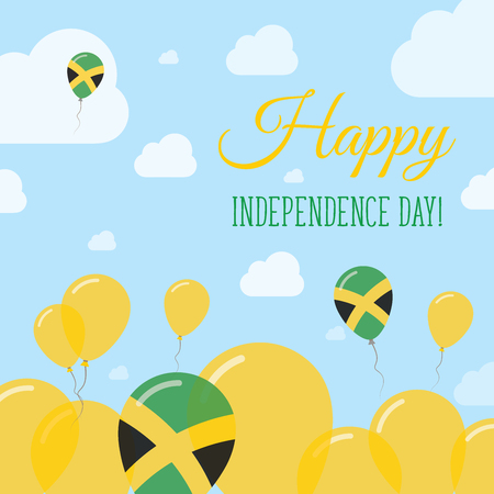 streamers: Jamaica Independence Day Flat Patriotic Design. Jamaican Flag Balloons. Happy National Day Vector Card.