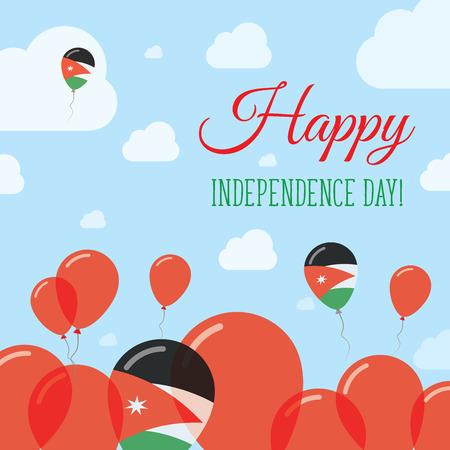 streamers: Jordan Independence Day Flat Patriotic Design. Jordanian Flag Balloons. Happy National Day Vector Card.
