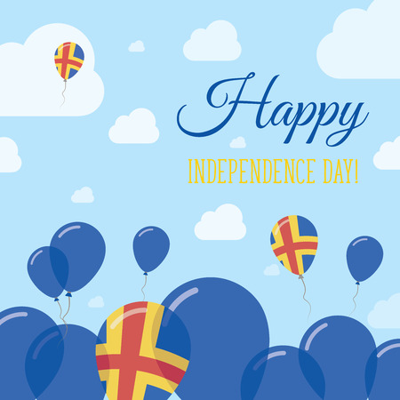 Aland Islands Independence Day Flat Patriotic Design. Swedish Flag Balloons. Happy National Day Vector Card.