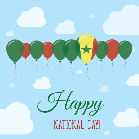 Senegal National Day Flat Patriotic Poster. Row of Balloons in Colors of the Senegalese flag. Happy National Day Card with Flags, Balloons, Clouds and Sky. Illustration