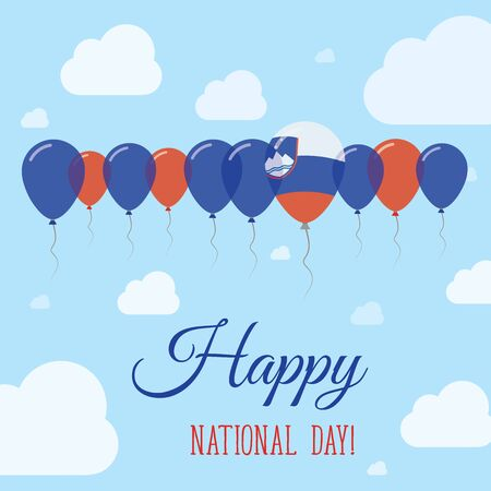 proclamation: Slovenia National Day Flat Patriotic Poster. Row of Balloons in Colors of the Slovene flag. Happy National Day Card with Flags, Balloons, Clouds and Sky.