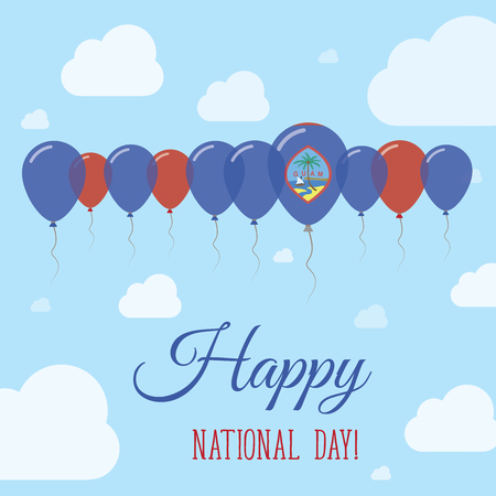 Guam National Day Flat Patriotic Poster. Row of Balloons in Colors of the Guamanian flag. Happy National Day Card with Flags, Balloons, Clouds and Sky. Illustration