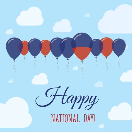 Haiti National Day Flat Patriotic Poster. Row of Balloons in Colors of the Haitian flag. Happy National Day Card with Flags, Balloons, Clouds and Sky.