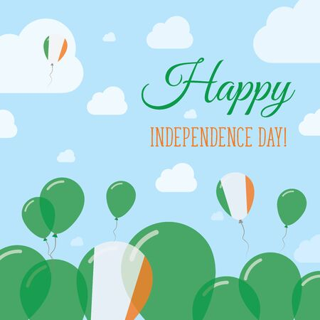 Ireland Independence Day Flat Patriotic Design. Irish Flag Balloons. Happy National Day Vector Card.