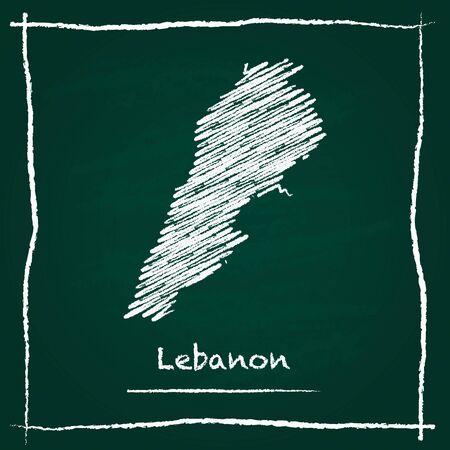Líbano contorno vectorial mapa dibujado a mano con tiza en una pizarra verde. Pizarra garabatos en estilo infantil. Textura de tiza blanca sobre fondo verde. Ilustración de vector