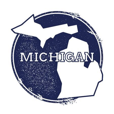 Michigan vector map. Grunge rubber stamp with the name and map of Michigan, vector illustration. Can be used as insignia, logotype, label, sticker or badge of USA state. Vettoriali