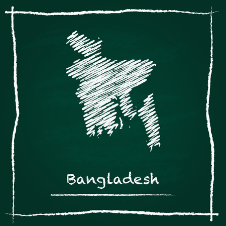 erased: Bangladesh outline vector map hand drawn with chalk on a green blackboard. Chalkboard scribble in childish style. White chalk texture on green background.