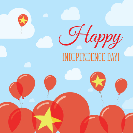 Vietnam Independence Day Flat Patriotic Design. Vietnamese Flag Balloons. Happy National Day Vector Card. Illustration