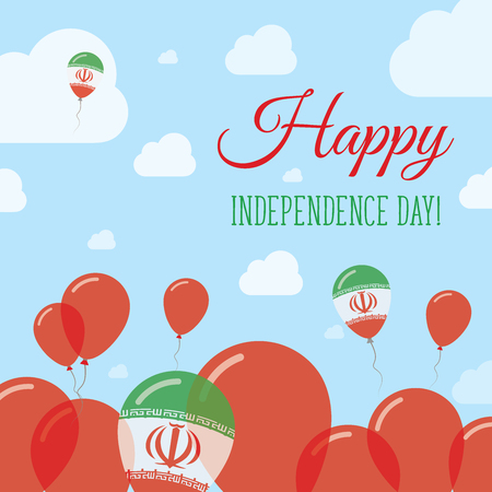 Iran, Islamic Republic Of Independence Day Flat Patriotic Design. Iranian Flag Balloons. Happy National Day Vector Card. Illustration