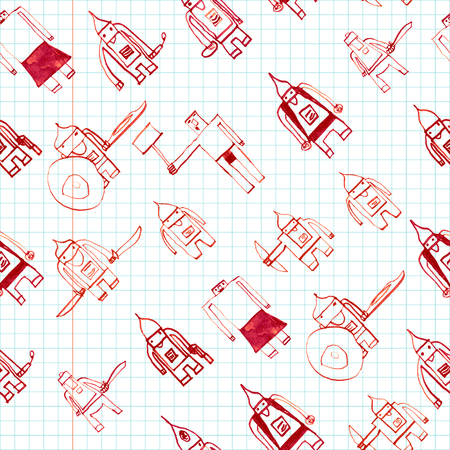 boyish: Hero seamless pattern. Adorable childs drawing with school pen. Cute hero hand drawn with red ink on math paper background. Boy hero seamless pattern for textile or wrapping paper. Illustration