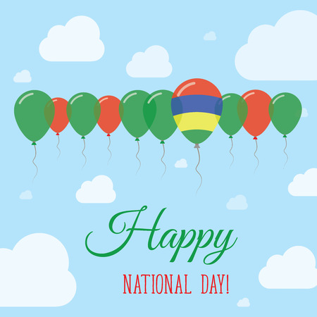 Mauritius National Day Flat Patriotic Poster. Row of Balloons in Colors of the Mauritian flag. Happy National Day Card with Flags, Balloons, Clouds and Sky.