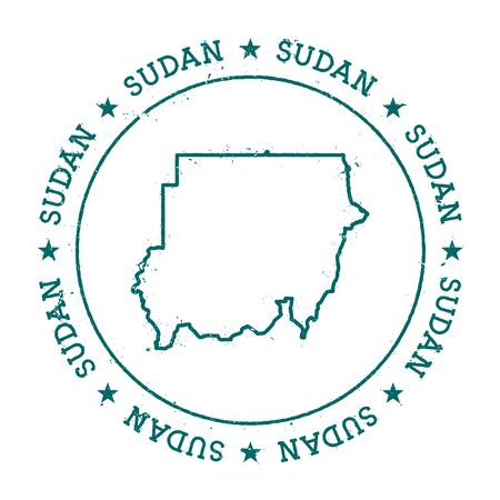 homeland: Sudan vector map. Retro vintage insignia with country map. Distressed visa stamp with Sudan text wrapped around a circle and stars. USA state map vector illustration. Illustration