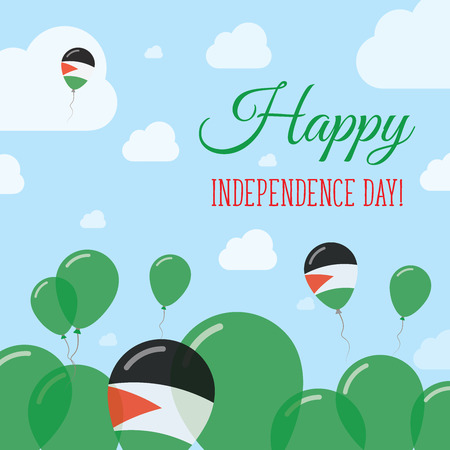 Palestine, State of Independence Day Flat Patriotic Design. Palestinian Flag Balloons. Happy National Day Vector Card.