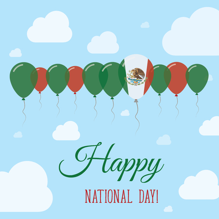 independency: Mexico National Day Flat Patriotic Poster. Row of Balloons in Colors of the Mexican flag. Happy National Day Card with Flags, Balloons, Clouds and Sky.