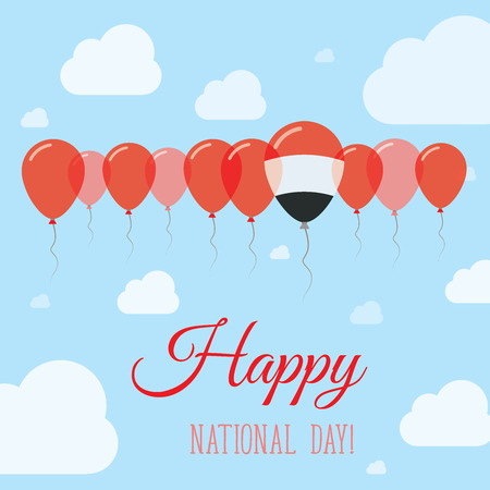 Yemen National Day Flat Patriotic Poster. Row of Balloons in Colors of the Yemeni flag. Happy National Day Card with Flags, Balloons, Clouds and Sky.