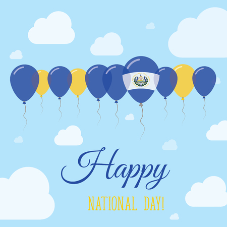 El Salvador National Day Flat Patriotic Poster. Row of Balloons in Colors of the Salvadoran flag. Happy National Day Card with Flags, Balloons, Clouds and Sky.