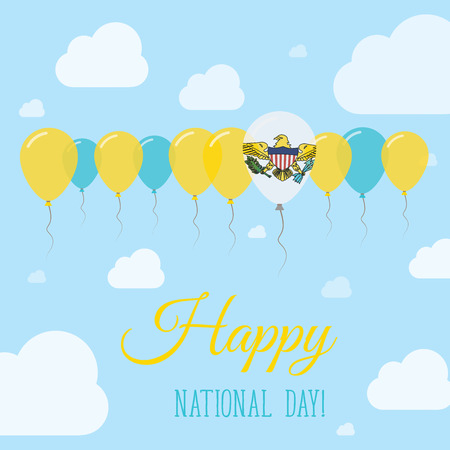streamers: Virgin Islands, U.S. National Day Flat Patriotic Poster. Row of Balloons in Colors of the Virgin Islander flag. Happy National Day Card with Flags, Balloons, Clouds and Sky.