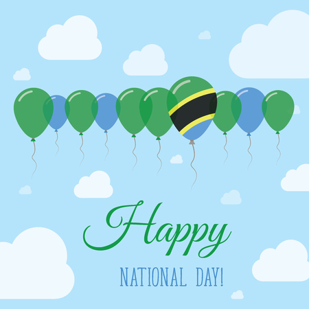 national identity: Tanzania, United Republic of National Day Flat Patriotic Poster. Row of Balloons in Colors of the Tanzanian flag. Happy National Day Card with Flags, Balloons, Clouds and Sky. Illustration