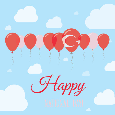 Turkey National Day Flat Patriotic Poster. Row of Balloons in Colors of the Turkish flag. Happy National Day Card with Flags, Balloons, Clouds and Sky.