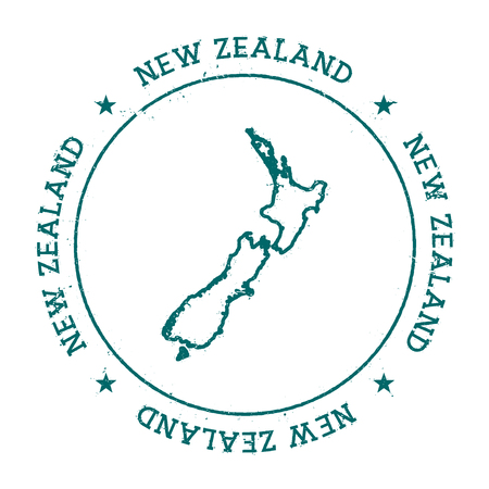 New Zealand vector map. Retro vintage insignia with country map. Distressed visa stamp with New Zealand text wrapped around a circle and stars. USA state map vector illustration. 向量圖像