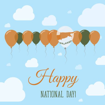 Cyprus National Day Flat Patriotic Poster. Row of Balloons in Colors of the Cypriot flag. Happy National Day Card with Flags, Balloons, Clouds and Sky.