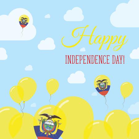 declaration of independence: Ecuador Independence Day Flat Patriotic Design. Ecuadorean Flag Balloons. Happy National Day Vector Card. Illustration