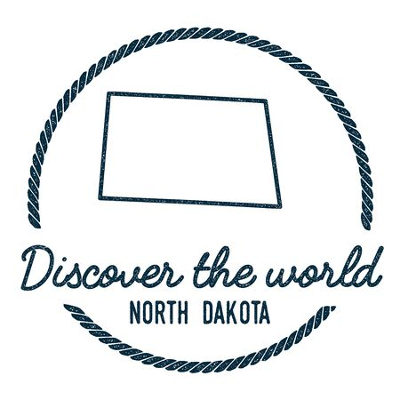 North Dakota Map Outline. Vintage Discover the World Rubber Stamp with North Dakota Map. Hipster Style Nautical Rubber Stamp, with Round Rope Border. USA State Map Vector Illustration. Illustration