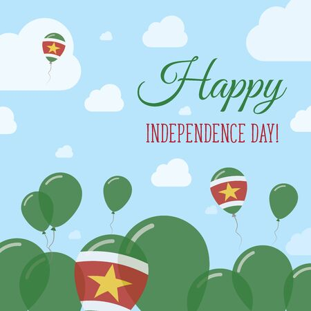 Suriname Independence Day Flat Patriotic Design. Surinamer Flag Balloons. Happy National Day Vector Card.