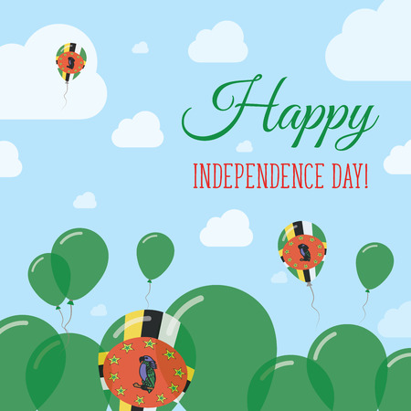 Dominica Independence Day Flat Patriotic Design. Dominican Flag Balloons. Happy National Day Vector Card.