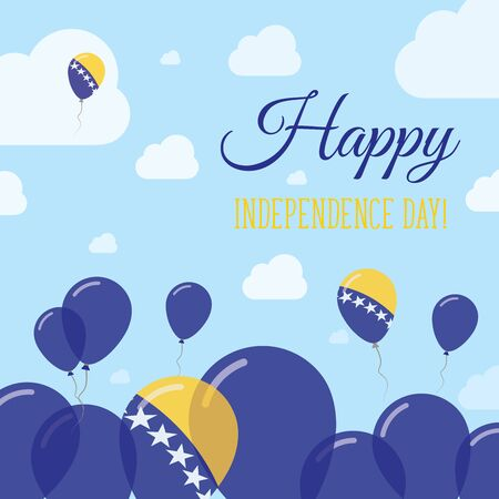herz: Bosnia and Herzegovina Independence Day Flat Patriotic Design. Bosnian, Herzegovinian Flag Balloons. Happy National Day Vector Card. Illustration