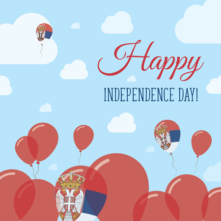 Serbia Independence Day Flat Patriotic Design. Serbian Flag Balloons. Happy National Day Vector Card.