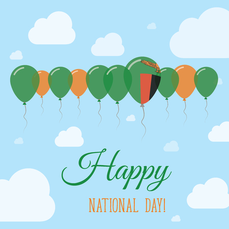 Zambia National Day Flat Patriotic Poster. Row of Balloons in Colors of the Zambian flag. Happy National Day Card with Flags, Balloons, Clouds and Sky.