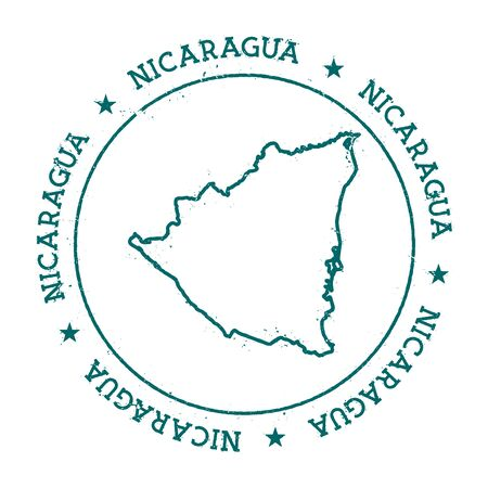 Nicaragua vector map. Retro vintage insignia with a country map. Distressed visa stamp with Nicaragua text wrapped around a circle and stars. USA state map vector illustration.