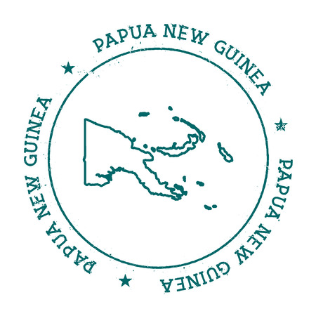 Papua New Guinea vector map. Retro vintage insignia with a country map. Distressed visa stamp with Papua New Guinea text wrapped around a circle and stars. USA state map vector illustration.