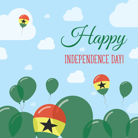 Ghana Independence Day Flat Patriotic Design. Ghanaian Flag Balloons. Happy National Day Vector Card. Illustration