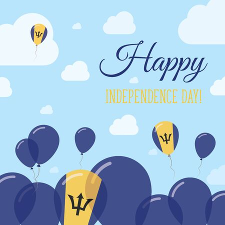 Barbados Independence Day Flat Patriotic Design. Barbadian Flag Balloons. Happy National Day Vector Card. Illustration