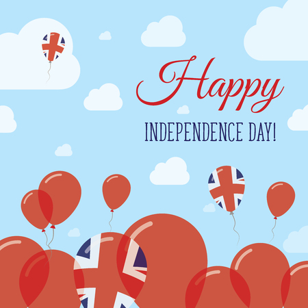 United Kingdom Independence Day Flat Patriotic Design. British Flag Balloons. Happy National Day Vector Card. Illustration