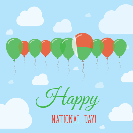 Madagascar National Day Flat Patriotic Poster. Row of Balloons in Colors of the Malagasy flag. Happy National Day Card with Flags, Balloons, Clouds and Sky.