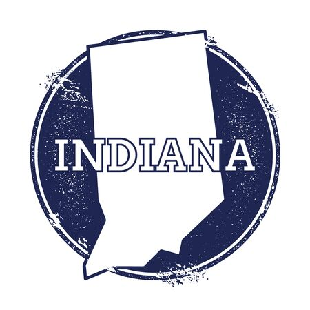 Indiana vector map. Grunge rubber stamp with the name and map of Indiana, vector illustration. Can be used as insignia, logotype, label, sticker or badge of USA state. Illustration