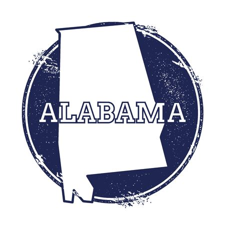 Alabama vector map. Grunge rubber stamp with the name and map of Alabama, vector illustration. Can be used as insignia, logotype, label, sticker or badge of USA state.