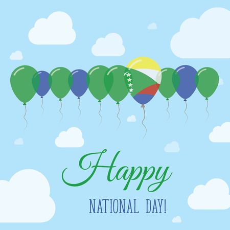 Comoros National Day Flat Patriotic Poster. Row of Balloons in Colors of the Comoran flag. Happy National Day Card with Flags, Balloons, Clouds and Sky.