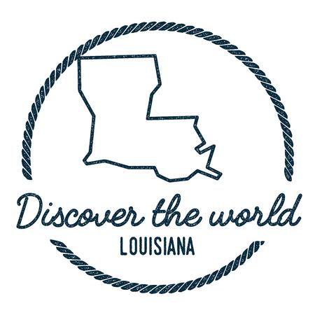 Carte de la Louisiane. Vintage Découvrez le World Rubber Stamp avec la carte de la Louisiane. Timbre en caoutchouc nautique style hipster, avec bordure de corde ronde. USA Illustration vectorielle de carte d'état.